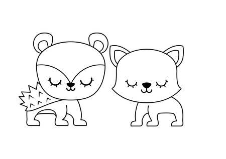 cute porcupine with cat animals vector illustration design
