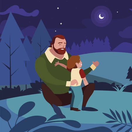 father with son in the field at night vector illustration design 矢量图像