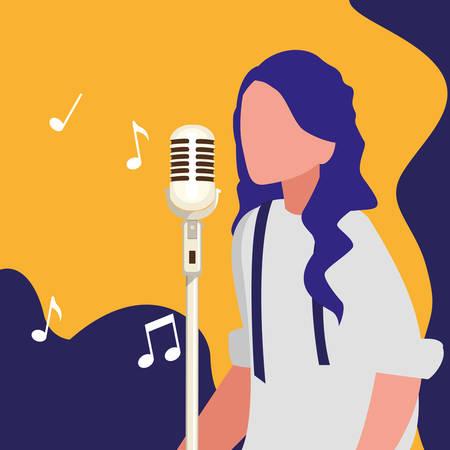 Chanteuse avec microphone vector illustration design caractère Vecteurs