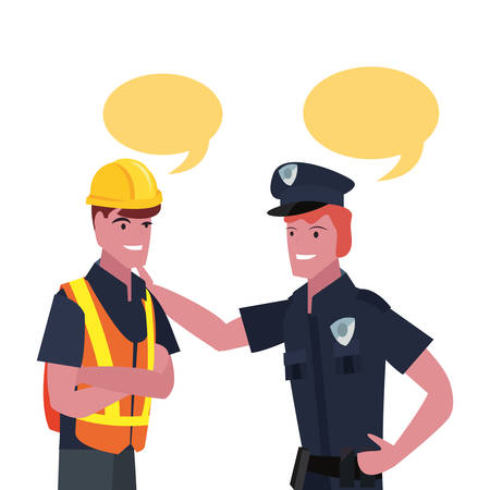 builder and policeman labour day vector illustration