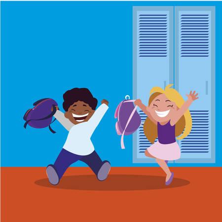 happy little interracial school kids in the school corridor vector illustration design