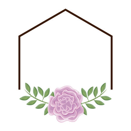 frame of beautiful flower with leafs vector illustration design