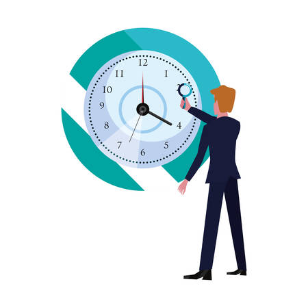businessman with magnifier clock time vector illustration