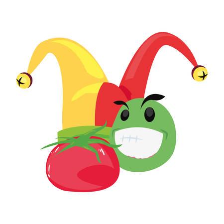 emoji hat tomato humor april fools day vector illustration