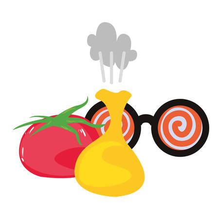crazy eyeglasses cushion tomato april fools vector illustration Фото со стока - 122924553