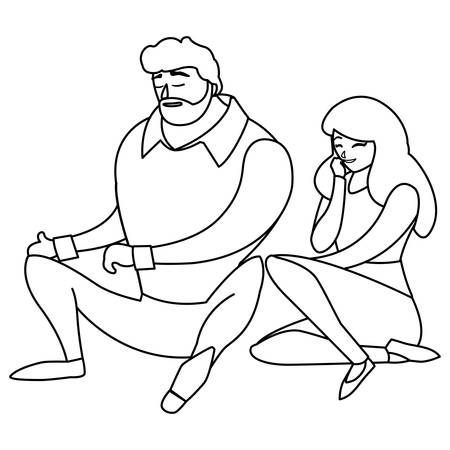 young couple seated characters vector illustration design Illustration