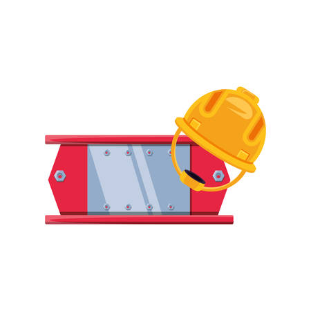 metal construction beam with helmet security vector illustration design Ilustração