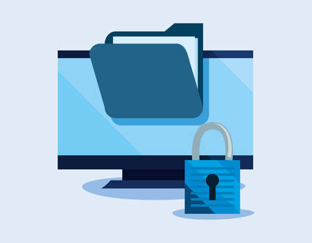 computer folder file padlock cyber security vector illustration Ilustração