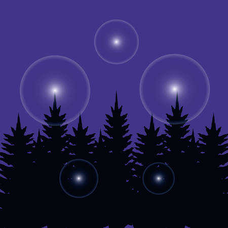 night sky with lights and tree plants vector illustration design