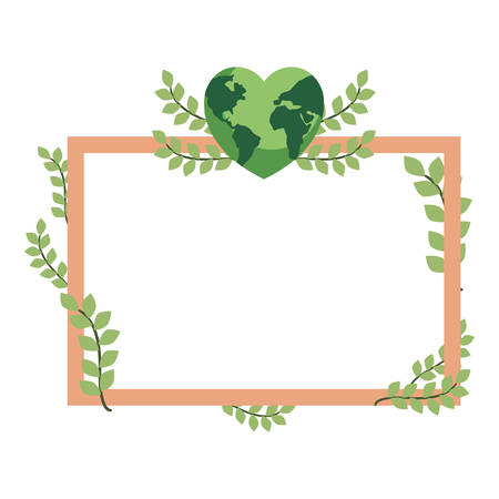 world shaped heart frame foliage happy earth day vector illustration