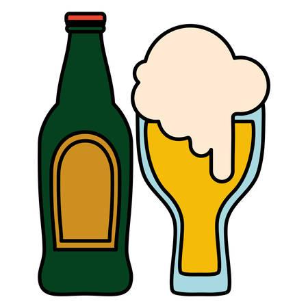 beer glass with bottle vector illustration design Ilustração