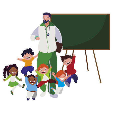 sports teacher with little students and chalkboard vector illustration design
