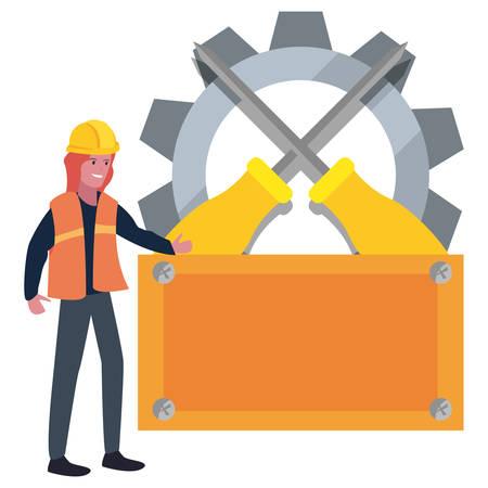 woman builder board tools labour day vector illustration Illusztráció