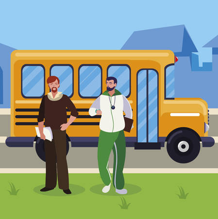 teachers classic and sports in stop bus vector illustration design Ilustração