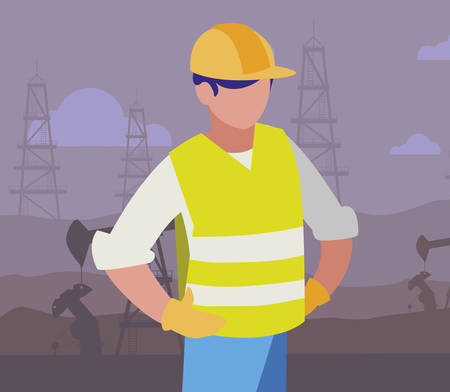 oil industry worker avatar character vector illustration design Stockfoto - 122926212
