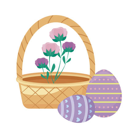 basket wicker with eggs of easter and flowers vector illustration design Ilustração