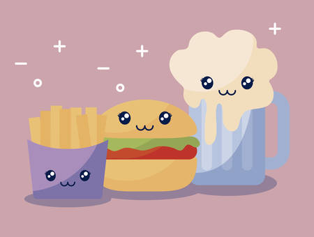 set of delicious hamburger and fast food kawaii character vector illustration design Stock Illustratie