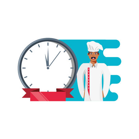 professional chef with clock time vector illustration design