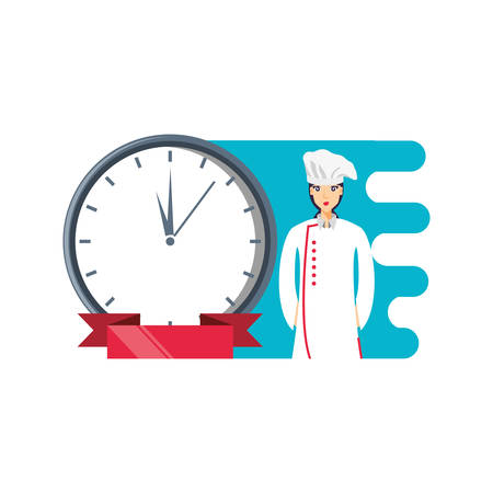 professional chef female with clock time vector illustration design Illustration
