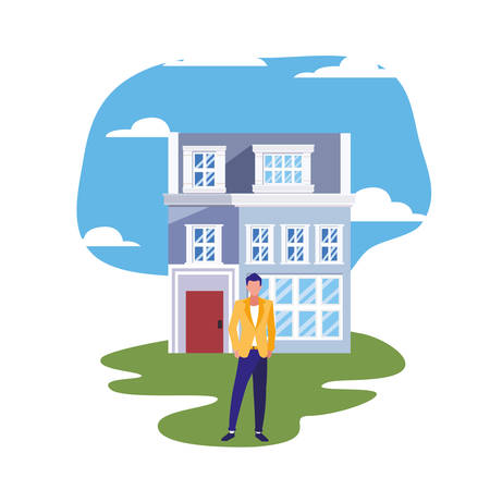man standing in front of house street vector illustration Иллюстрация