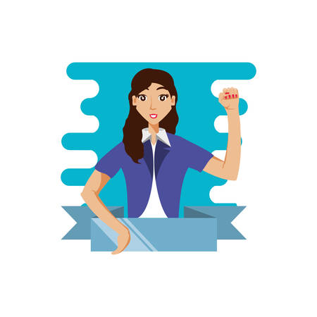 business woman elegant with ribbon vector illustration design