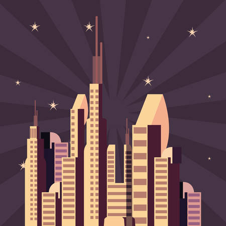futuristic city outer galaxy exploration vector illustration