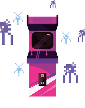 arcade machine video game retro vector illustration design