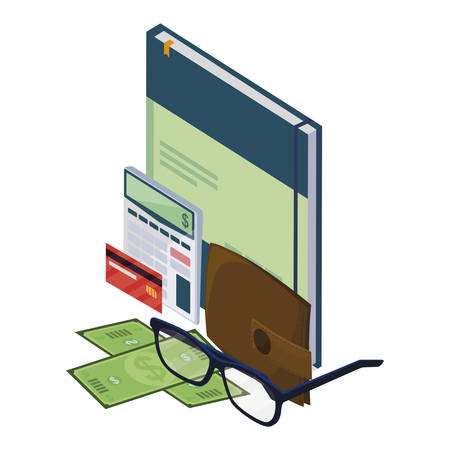 office notepad with set items vector illustration design