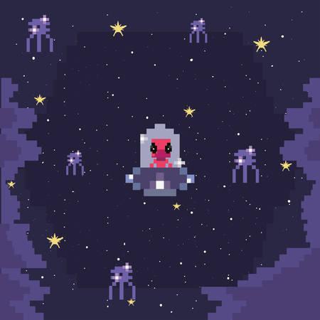 screen invaders battle video game retro vector illustration design