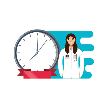 doctor female professional with clock time vector illustration design