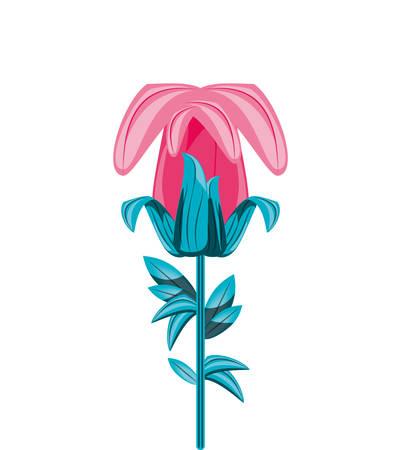 beautiful flower with branch and leafs vector illustration design Ilustração