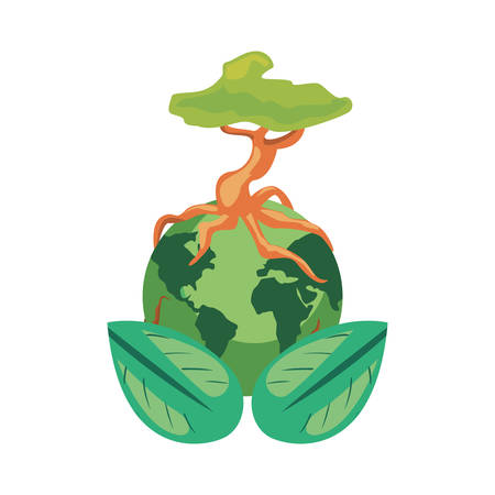 world tree natural leaves earth day vector illustration  イラスト・ベクター素材