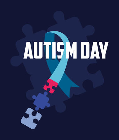 autism day campaign blue ribbon pieces jigsaw vector illustration Illustration