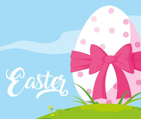 decorated easter egg with bow in grass vector illustration design Çizim