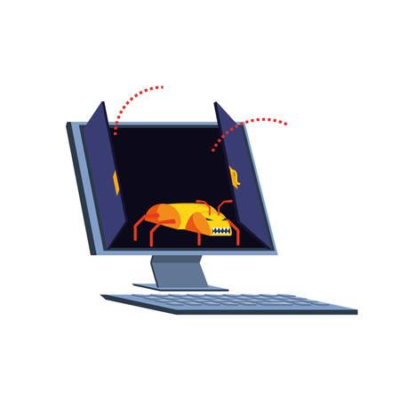 desktop computer with virus attack vector illustration design 向量圖像