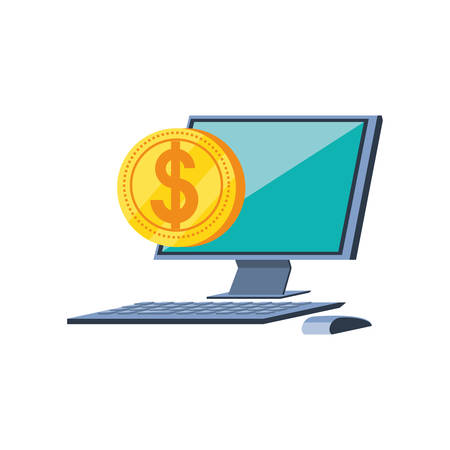 desktop computer with coin dollar vector illustration design Stock Illustratie