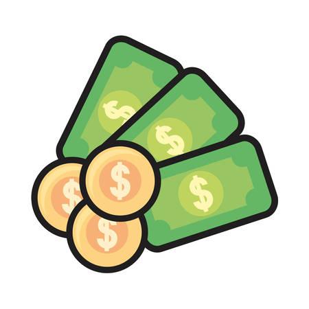 banknote money coins dollar on white background vector illustration Ilustração