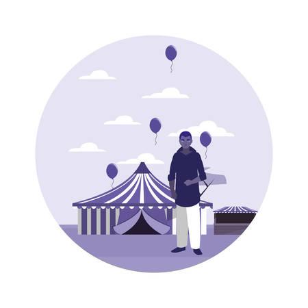 man in the amusement park vector illustration
