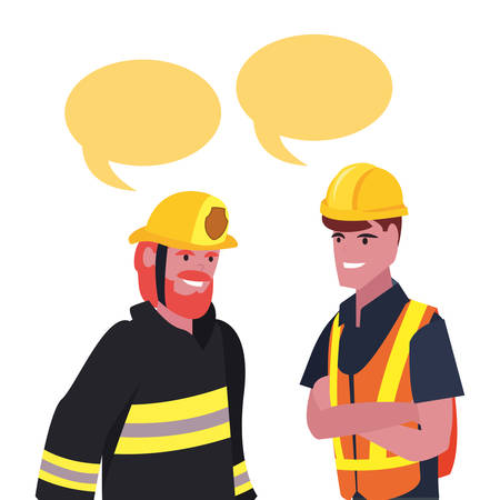builder fireman employee labour day vector illustration
