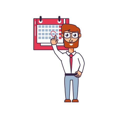 businessman elegant with calendar reminder vector illustration design