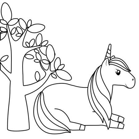 cute unicorn animal with tree plant vector illustration design