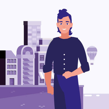 man standing in the city background vector illustration