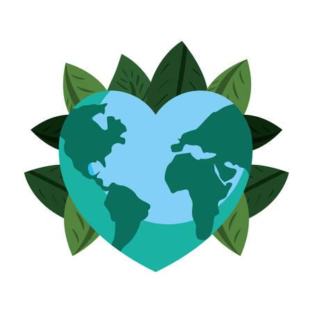 world shaped heart foliage happy earth day vector illustration  イラスト・ベクター素材