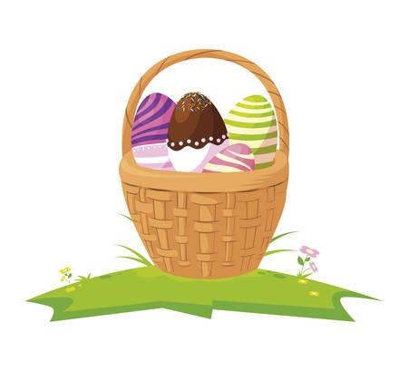 happy easter eggs painted in basket vector illustration design