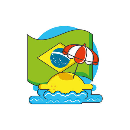 flag of brazil with parasol and beach vector illustration design