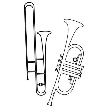 Trompeteninstrumente musikalische Icons Vector Illustration Design