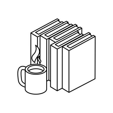 pile text books with coffee cup vector illustration design