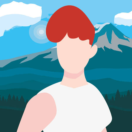 woman character mountains scene landscape vector illustration Ilustrace