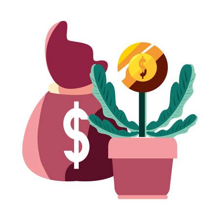 money bag potted plant coin bank vector illustration Standard-Bild - 122926797