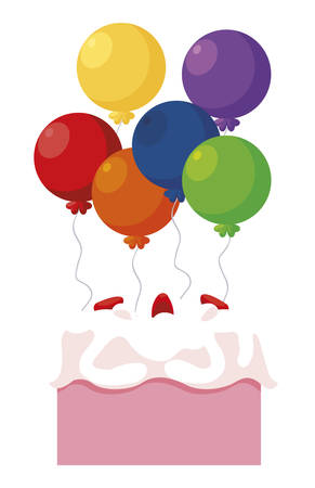 sweet cake birthday with balloons helium vector illustration design Ilustração